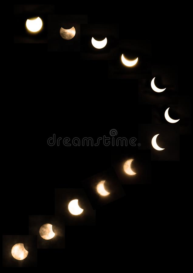2019 26. Dezember Partial Solar Eclipse Central Java lizenzfreie stockbilder