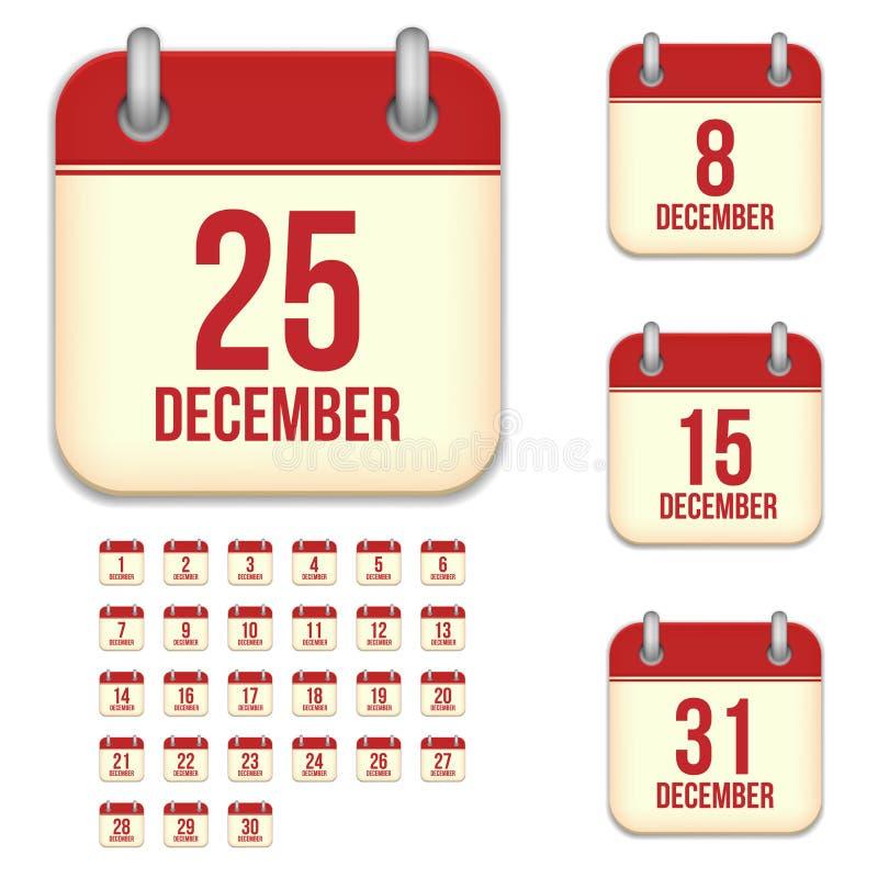 Dezember-Vektorkalenderikonen lizenzfreie abbildung
