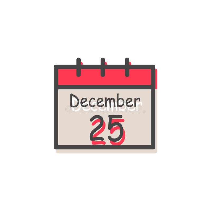 25. Dezember Weihnachtskalender-Vektor-Illustration stock abbildung