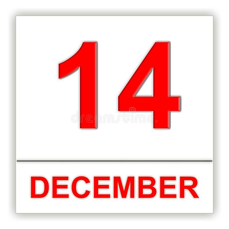 Dezembro 14 Dia no calendário ilustração stock
