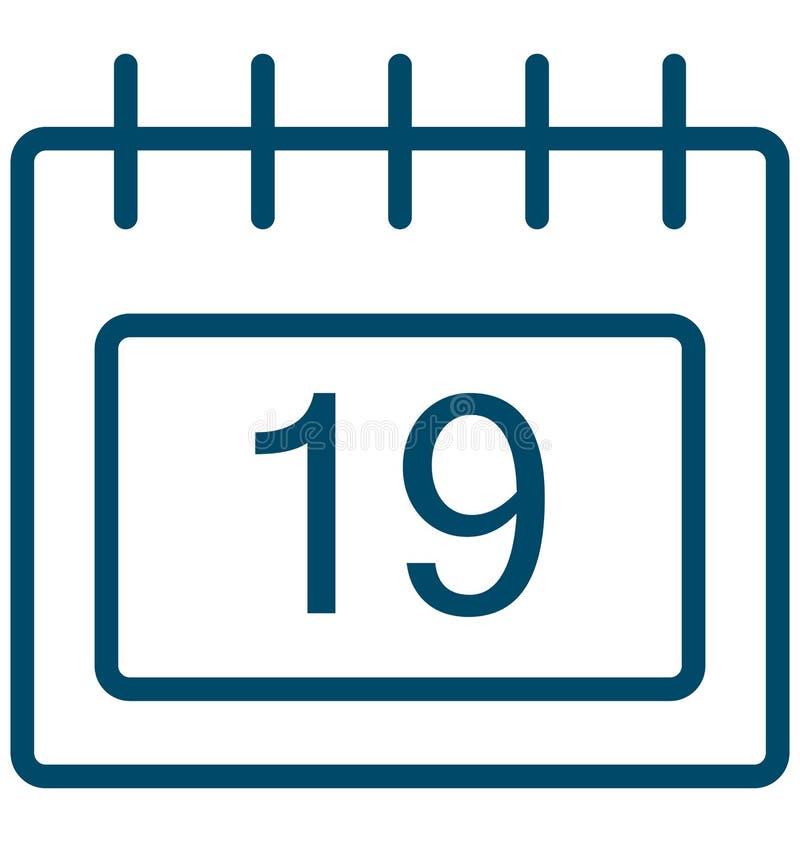 Dezenove, dezenove ícones do vetor do dia do evento especial que pode facilmente ser alterado ou editado ilustração stock