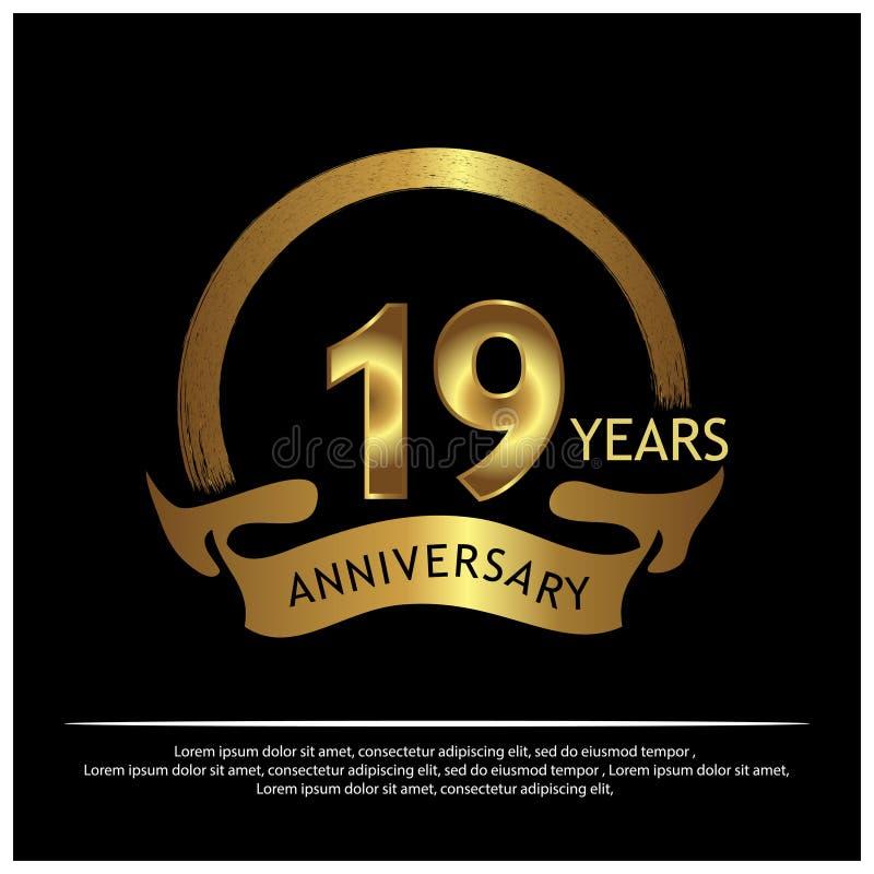 Dezenove anos de aniversário dourado projeto do molde do aniversário para a Web, jogo, cartaz criativo, brochura, folheto, inseto ilustração royalty free