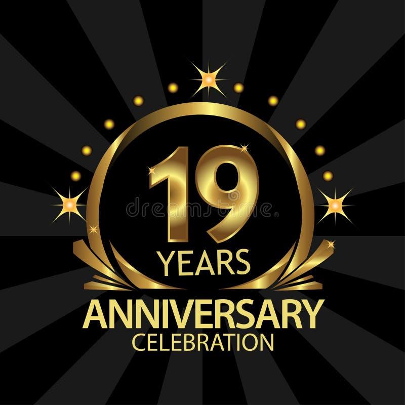 Dezenove anos de anivers?rio dourado projeto do molde do anivers?rio para a Web, jogo, cartaz criativo, brochura, folheto, inseto ilustração stock