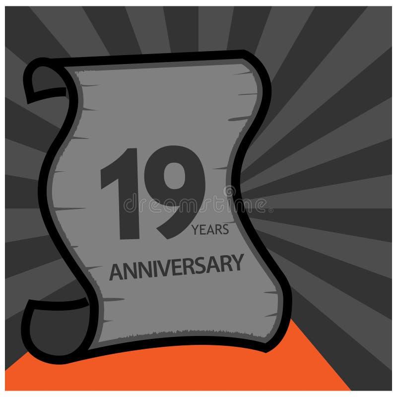 Dezenove anos de anivers?rio projeto do molde do anivers?rio para a Web, jogo, cartaz criativo, brochura, folheto, inseto, compar ilustração stock