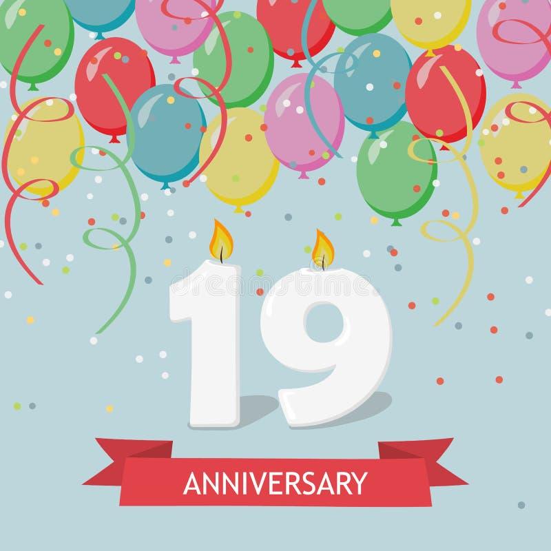 Dezenove anos de cartão do aniversário com velas ilustração stock