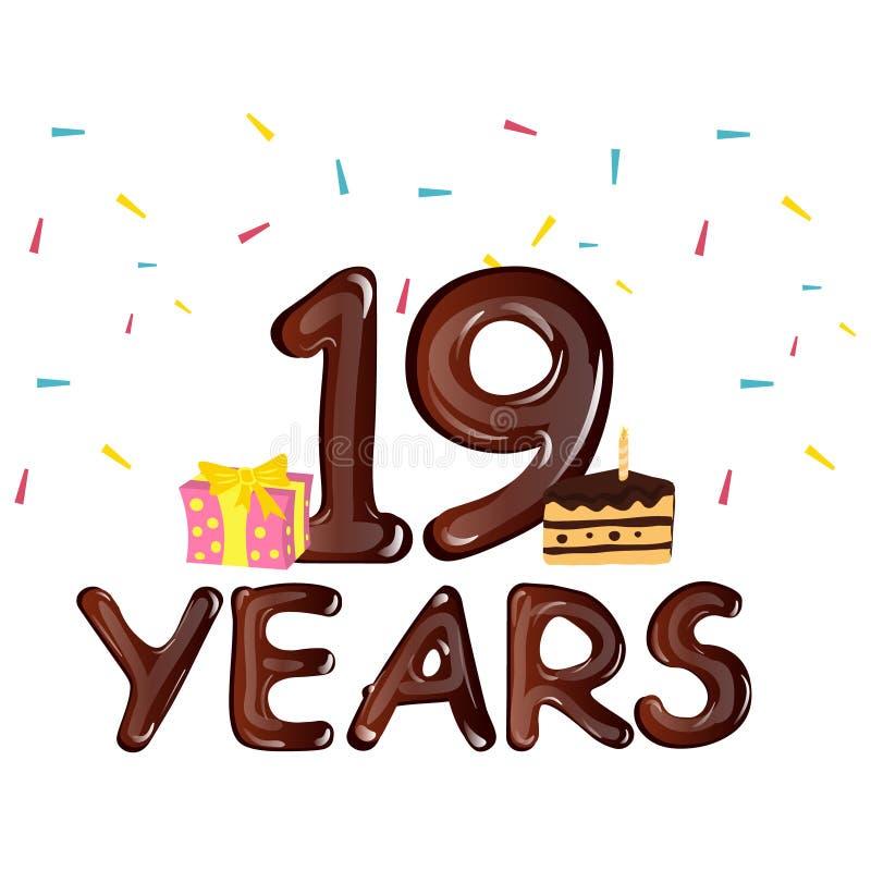Dezenove anos de celebração do aniversário ilustração do vetor