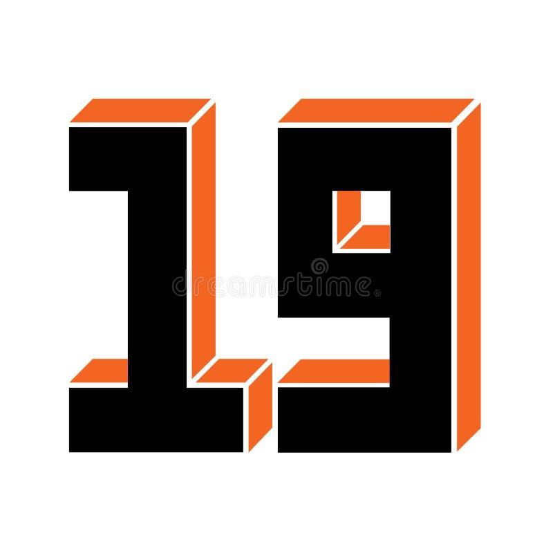 Dezenove illustranion do vetor do ícone do numeral ilustração do vetor