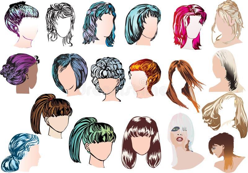 Dezenove penteados modernos da mulher ilustração royalty free