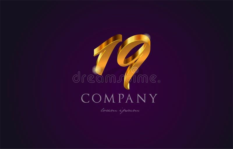 19 dezenove projetos numerais do ícone do logotipo do dígito do número dourado do ouro ilustração royalty free