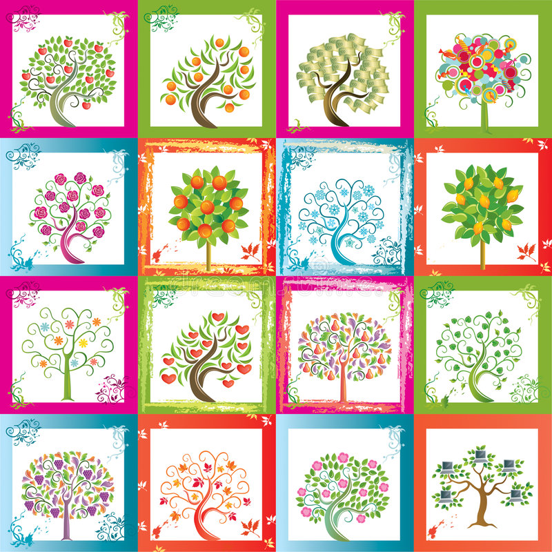 Dezesseis árvores ilustração royalty free