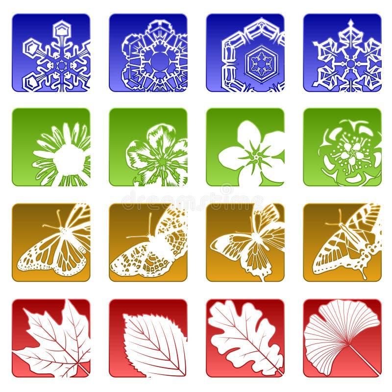 Dezesseis ícones da estação ilustração stock