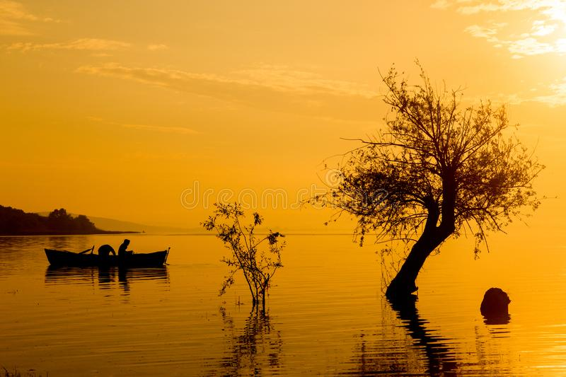Boat trip at sunset. Nice weather royalty free stock photo