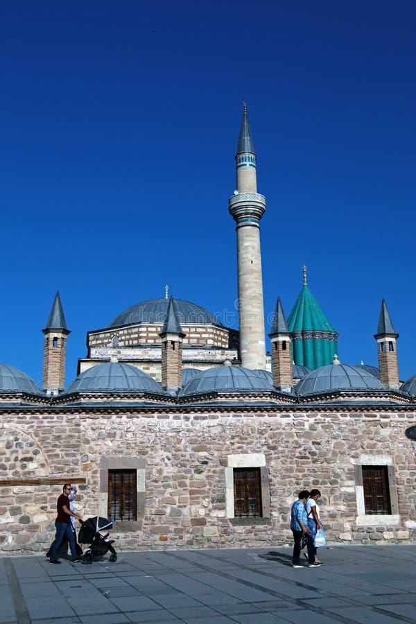 Mevlana mosque in konya, turkey. And people stock photo
