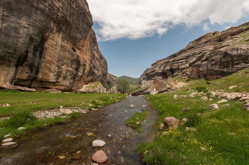 Canyon in malatya, turkey. Canyon with stream in malatya, turkey stock photos