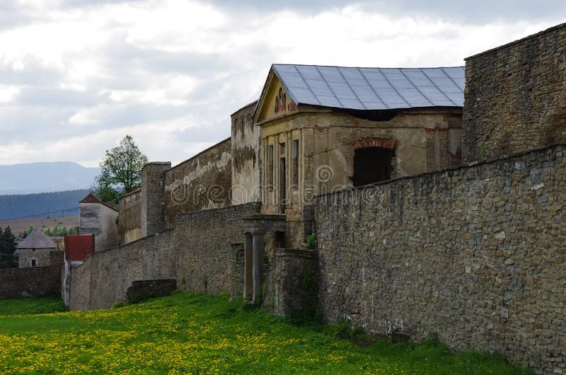 Dfencsive wall surrounding the old town of Levoca. A UNESCO heritage site. In Slovakia royalty free stock photo