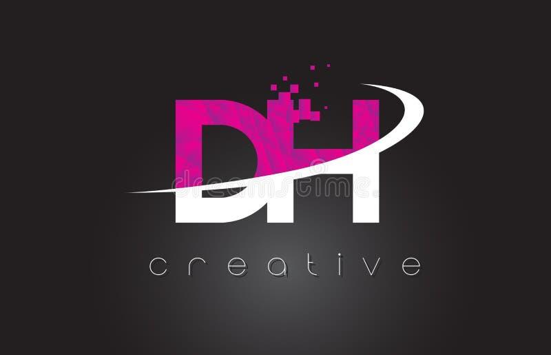 DH Creatief de Brievenontwerp van D H met Witte Roze Kleuren stock illustratie