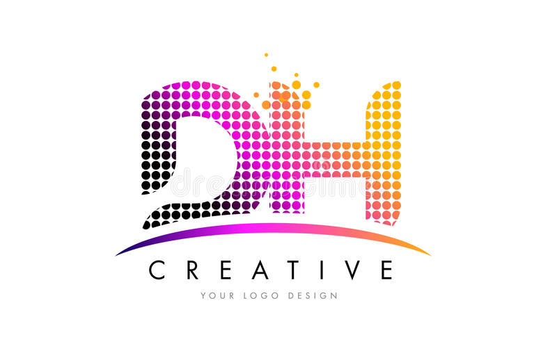 DH D H Letter Logo Design with Magenta Dots and Swoosh. DH D H Dots Letter Logo Design with Magenta Bubble Circles and Swoosh stock illustration