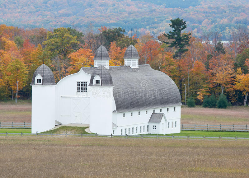 DH Day Barn with autumn colors, Michigan, Sleeping Bear National Lakeshore. DH Day Barn with autumn colors in Sleeping Bear National Lakeshore. Glen Lake is royalty free stock photos