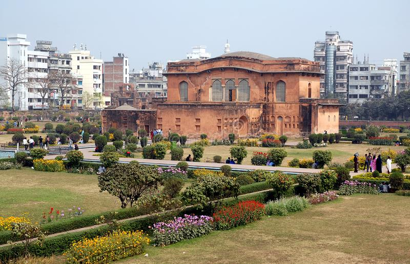 Dhaka, Bangladesh: The Diwan-i-Aam Diwan, the governor`s residence in the grounds of Lalbagh Fort, Dhaka. The building has a hammam attached. Tourist sight in royalty free stock photography