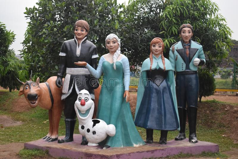 Dhaka,  Bangladesh  -march 26,  2019 : portraits of frozen movie characters in biman museum stock image