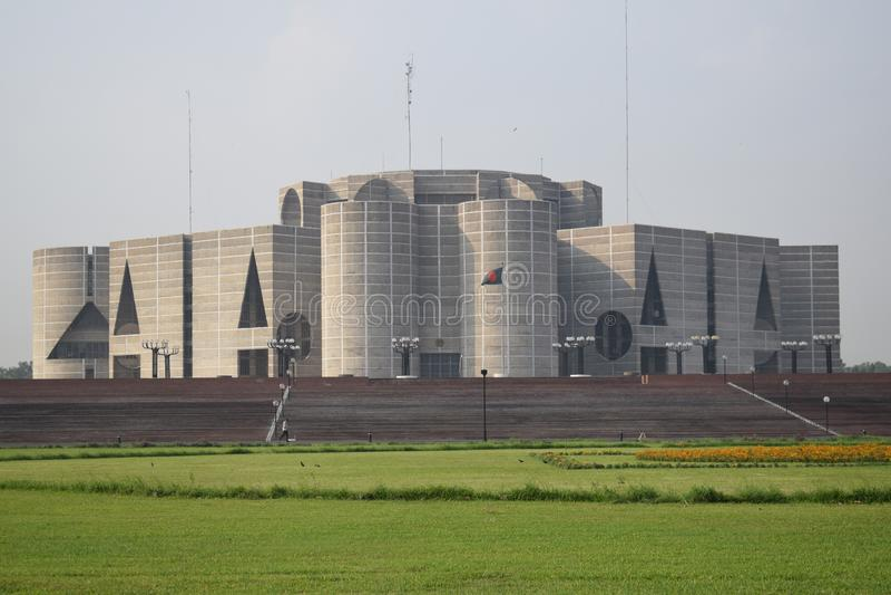 Dhaka, Bangladesz, - Stycze?, 27, 2019: Parlamentu Narodowego dom, obraz royalty free