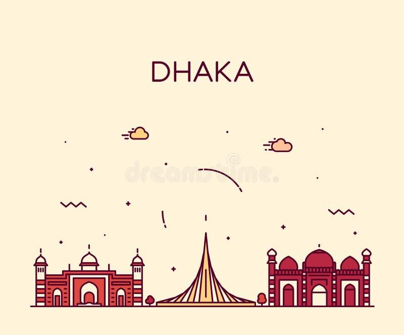 Dhaka linia horyzontu Bangladesz wektorowego miasta liniowy styl royalty ilustracja