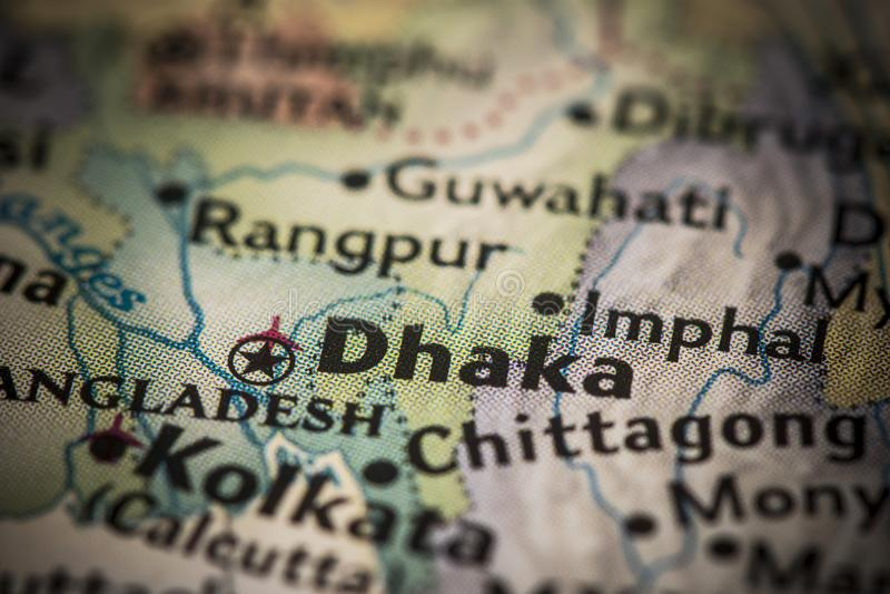 Dhaka on map. Closeup of Dhaka, Bangladesh on a world map royalty free stock photo