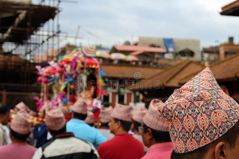 The `Dhaka Topi` worn by local Nepali people who are having a festival around Patan Durbar Square stock photos