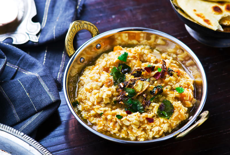 Dhal con la calabaza Cocina india foto de archivo libre de regalías