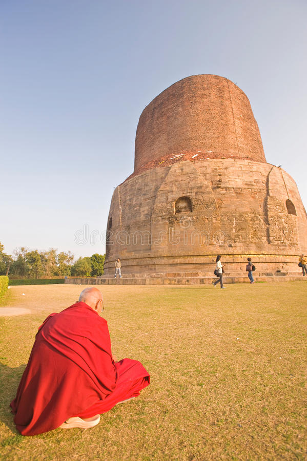 The Dhamekh Stupa, Sarnath,India royalty free stock image