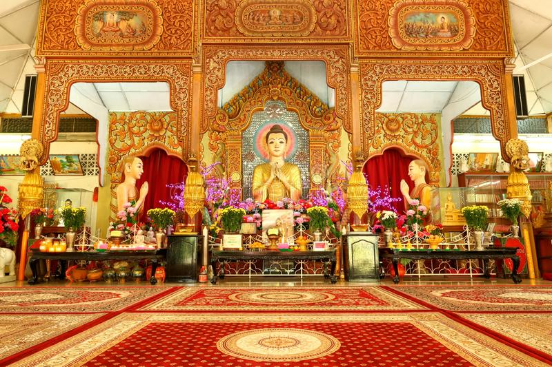 Dhamikarama Burmese Temple in Penang, Malaysia. Buddha at Dhamikarama Burmese Temple in Penang royalty free stock images