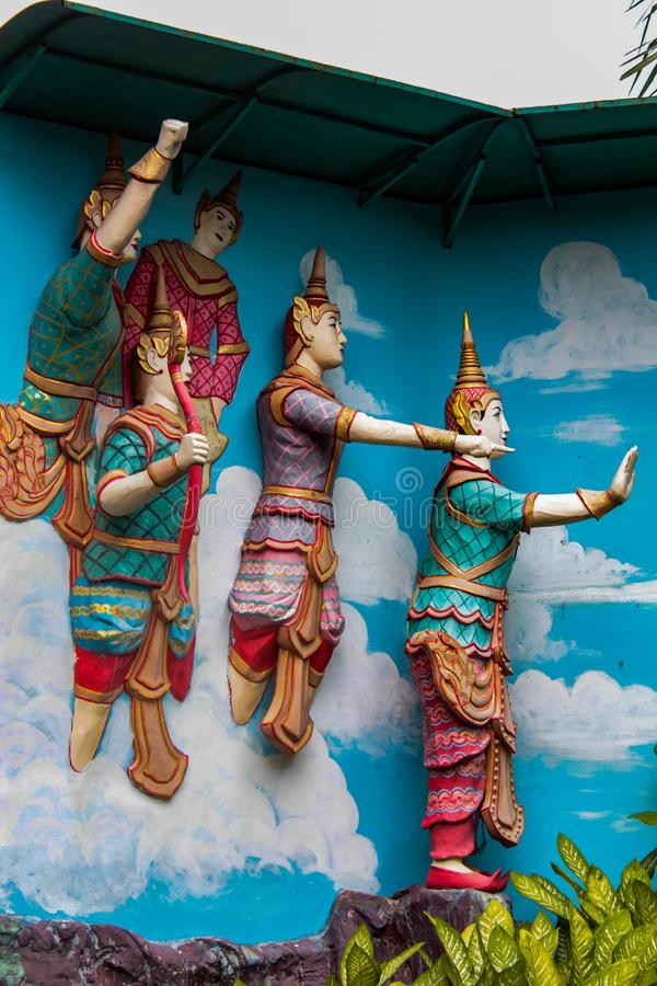 Dhamikarama Burmese Temple in Penang, Malaysia. Detail from Dhamikarama Burmese Temple in Penang, Malaysia . This temple was the first kyaung Burmese monastery stock photo