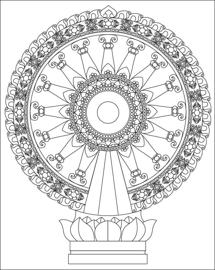 Dhamma轮子 库存例证