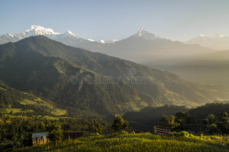 Dhampus at Dawn. Dhampus village of Nepal as seen at the time of sunrise royalty free stock photos