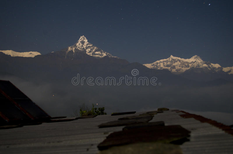 Dhampus Starry Night. A beautiful view of the night with Annapurna Mountain Range from Dhampus Village, in a way to Annapurna Trekking Route royalty free stock photography