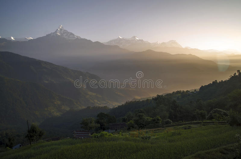 Dhampus Sunrise. A beautiful view of sunrise with Annapurna Mountain Range seen from Dhampus village, way to Annapurna Base Camp Trekking road stock photography