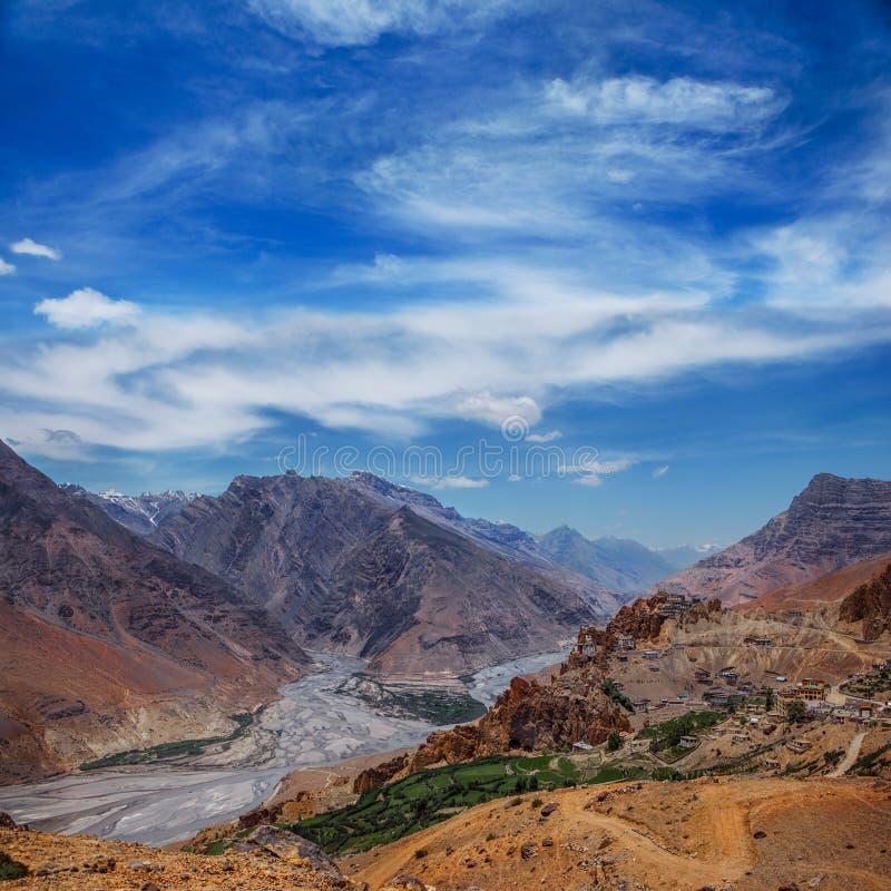 Dhankar村庄在蓝天下 库存照片