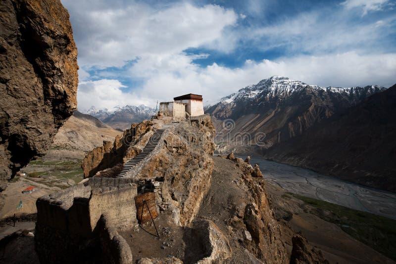 Dhankar Monastery Valley Below Horizontal royalty free stock images