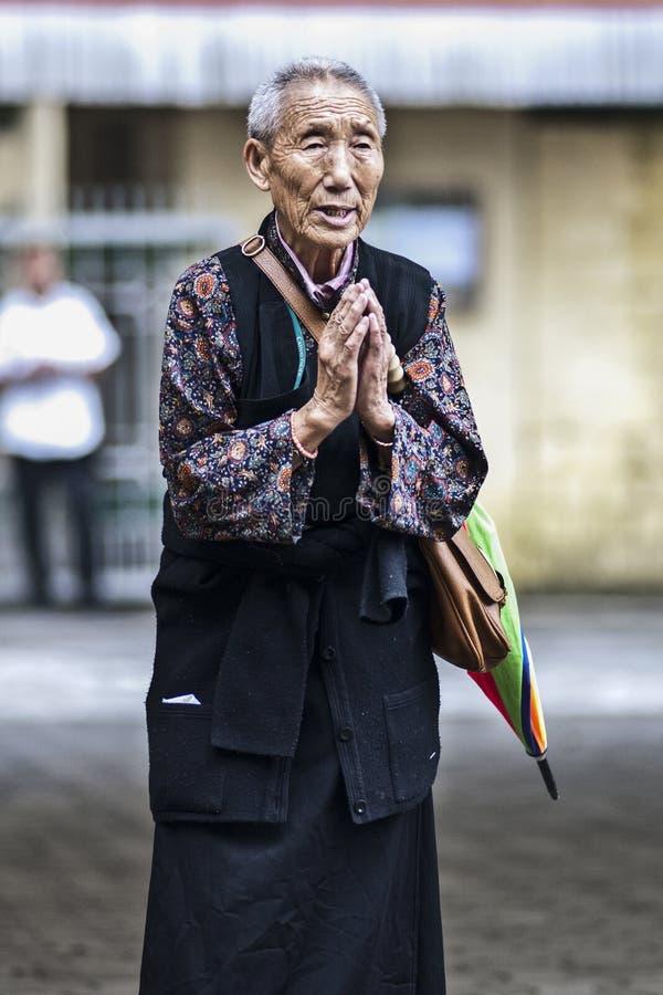 Dharamsala, India, il 7 settembre 2010: Pregare tibetano della donna anziana fotografia stock