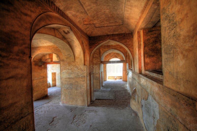 Dharbar Pasillo arquea y detalle, fortaleza de Golconda imágenes de archivo libres de regalías