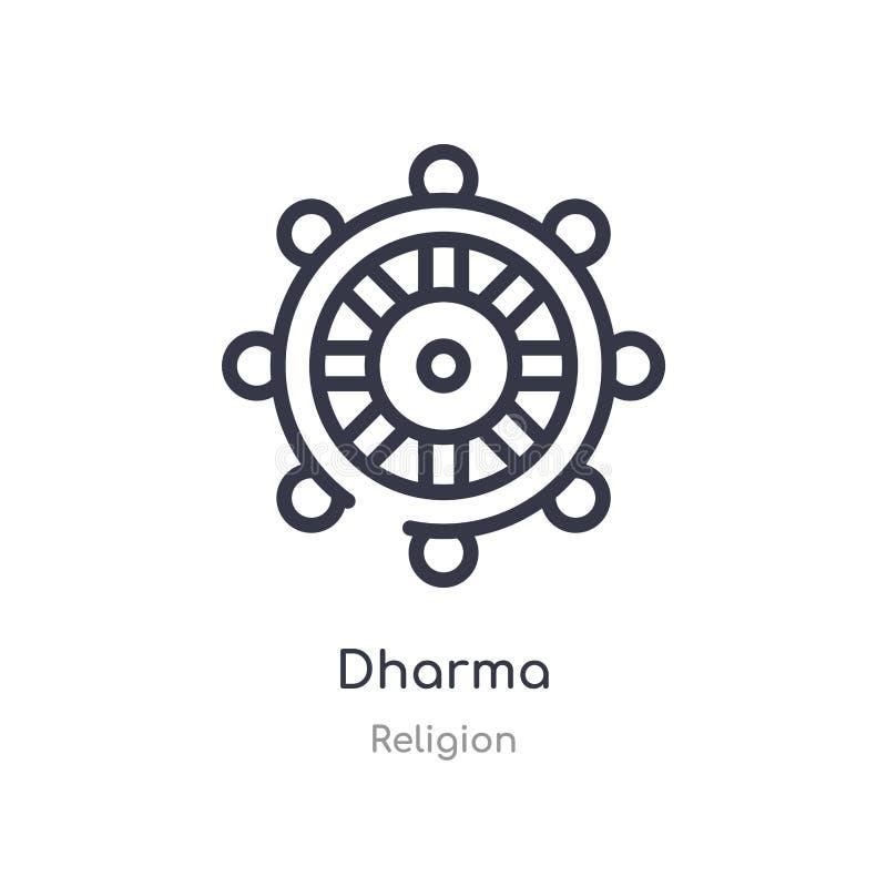 dharmaöversiktssymbol isolerad linje vektorillustration fr?n religionsamling redigerbar tunn slaglängddharmasymbol på vit vektor illustrationer