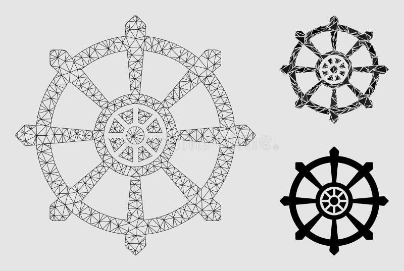 Dharma koła Wektorowej siatki trójboka i modela mozaiki 2D ikona ilustracji