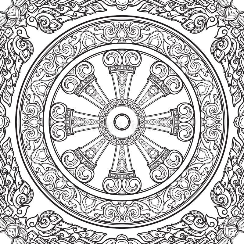 Dharma Wheel, Dharmachakra Símbolo de las enseñanzas del ` s de Buda en la trayectoria a la aclaración, liberación del kármico ilustración del vector