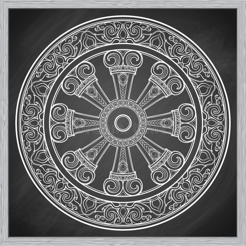 Dharma Wheel, Dharmachakra Simbolo degli insegnamenti del ` s di Buddha sul percorso al chiarimento, liberazione dal karmico illustrazione di stock