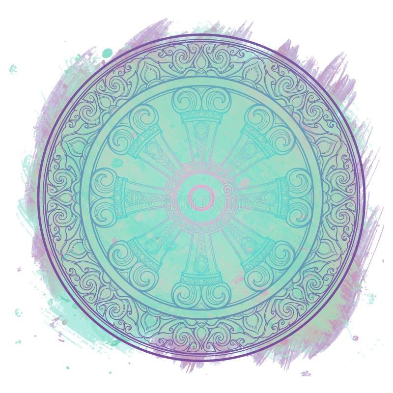 Dharma Wheel, Dharmachakra Simbolo degli insegnamenti del ` s di Buddha sul percorso al chiarimento, liberazione dal karmico illustrazione vettoriale