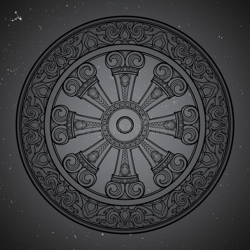 Dharma Wheel, Dharmachakra Symbool van het onderwijs van Boedha ` s op de weg aan verlichting, bevrijding van karmic vector illustratie