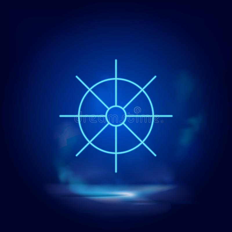 Dharma wheel symbol neon icon. Blue neon  icon. Smoke effect blue royalty free illustration