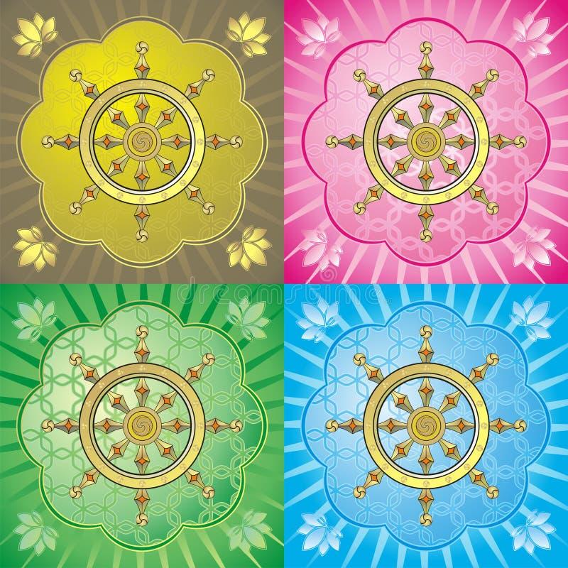 Dharmacakra - rueda del dharma ilustración del vector