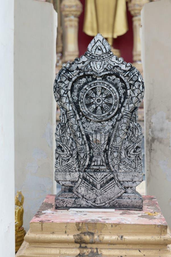 Dharmachakra, roue de Dhamma, symbole de bouddhisme photographie stock