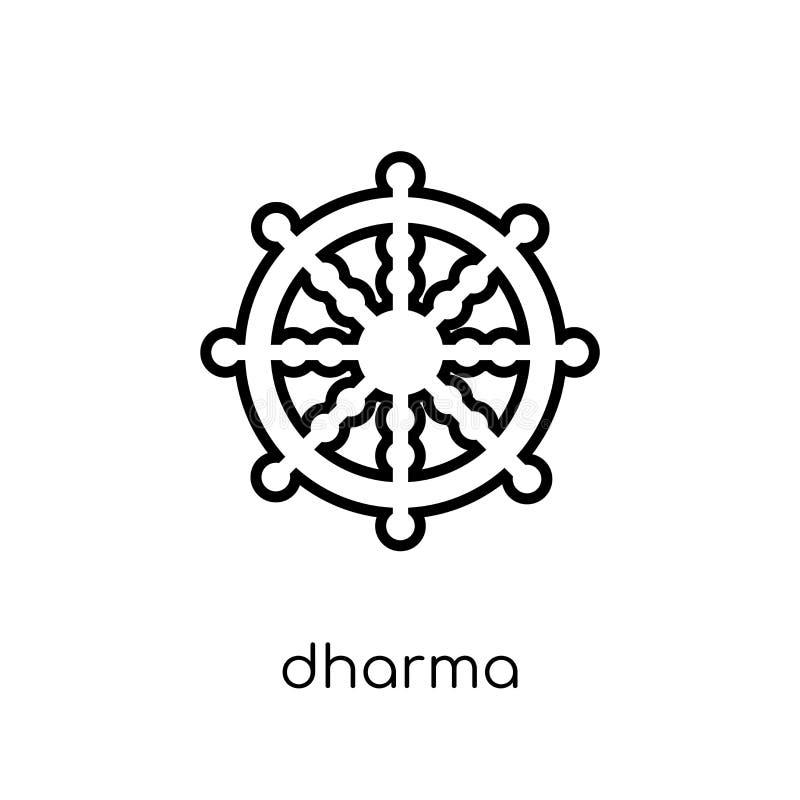 Dharmapictogram In modern vlak lineair vectordharma-pictogram op whi royalty-vrije illustratie